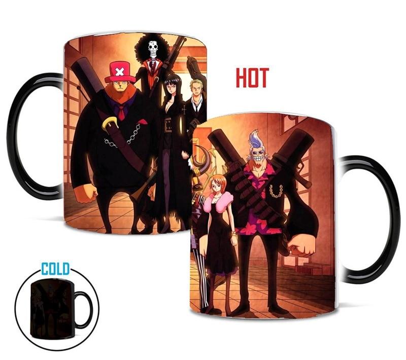 One Piece Color Changing Mug Luffy Chopper Suit Figure Ceramic Heat Reveal Coffee Milk Tea Cup Chrismas Gift Drop Shipping