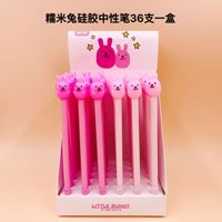 36pcs Creative Stationery Student Pen Cartoon Rabbit Fruit Gel Pen Full Needle Black Ink Pen School Supplies Office Supplies 0.5