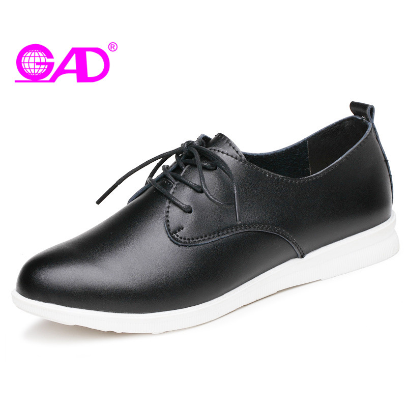 GAD Fashion British Style Women Leather Casual Shoes Autumn New Arrival Round Toe Lace-up Women Oxford Shoes Flat Shoes Women minika new arrival 2017 casual shoes women multicolor optional comfortable women flat shoes fashion patchwork platform shoes