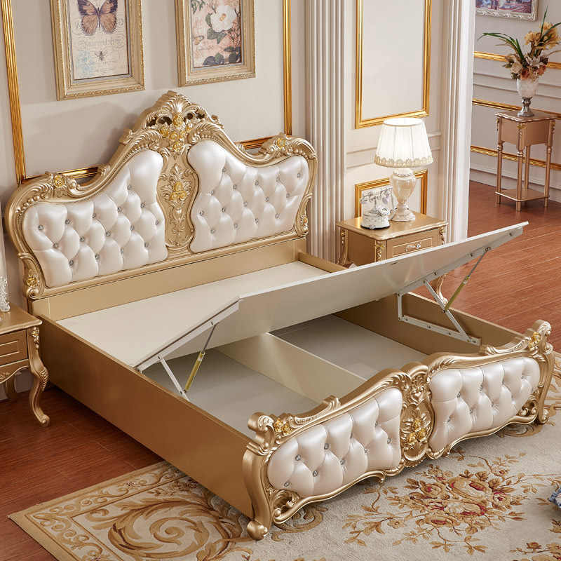 Golden White Procare Modern Antique Italy Style King Size Solid Wood Bedroom Furniture Leather Wall Bed Aliexpress