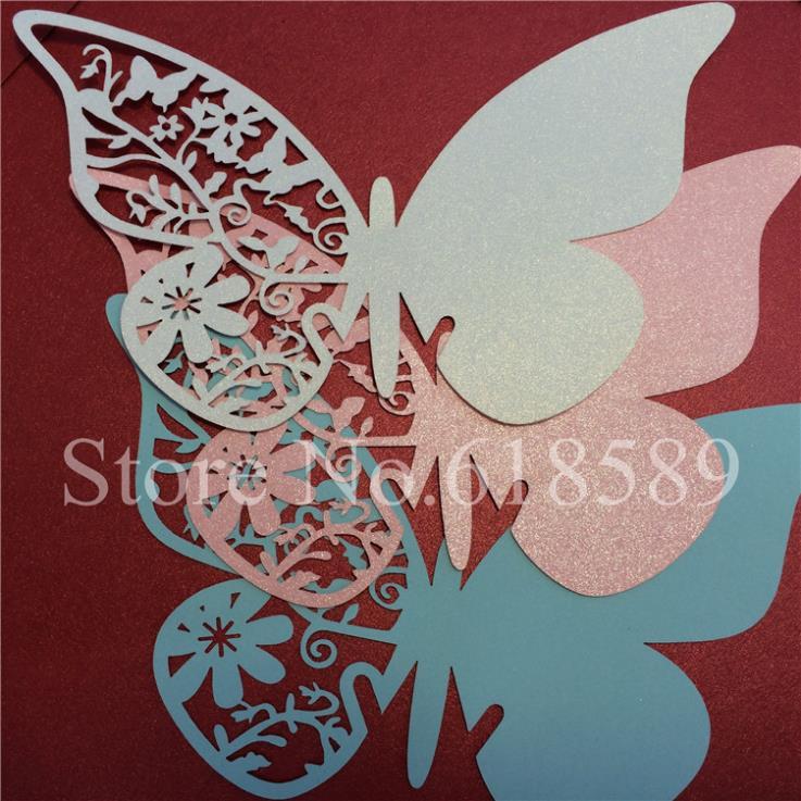 unids d laser cut mariposa de papel tarjetas de copa nombre lugar para el vino de la boda mesa de centro piezas del partido en de en