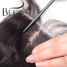 4x4 hd laço de seda base encerramento onda do corpo remy peruano cabelo humano fechamento seda parte do meio descorado nó transparente rendas beos