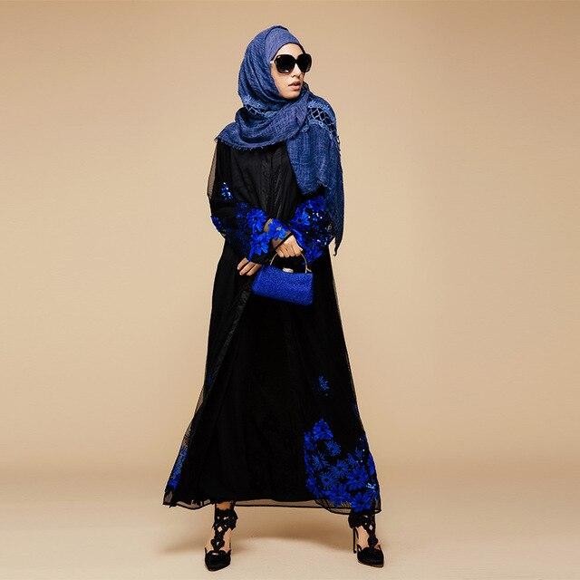 2016 Аппликации Кружева Новые Исламские Арабские Одежды Кардиган Пиджаки Турция Ближний Восток Мусульманских Женщин Платье Моды Большой Размер