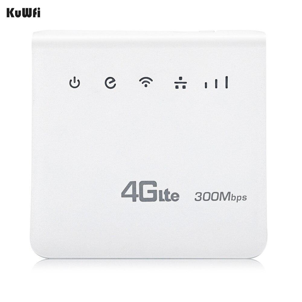 KuWFi Débloqué 300 Mbps 4G LTE CPE Mobile WiFi Sans Fil Intérieur Routeur 2.4 GHz WFi Hotspot Avec Lan Port SIM Fente Pour Carte