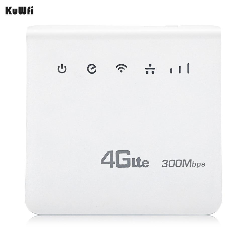 KuWFi Débloqué 300 Mbps 4G LTE CPE Mobile WiFi Sans Fil Intérieur Routeur 2.4 GHz WFi Hotspot Avec Lan Port SIM emplacement pour cartes