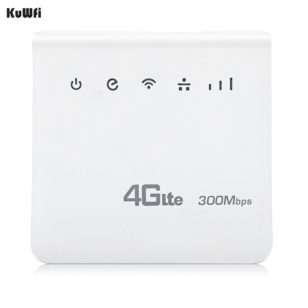 KuWFi Unlocked 300Mbps 4G LTE CPE Mobile WiFi Wireless Router 2.4GHz WFi Hotspot For SIM Card Slot With Lan Port SIM Card Slot