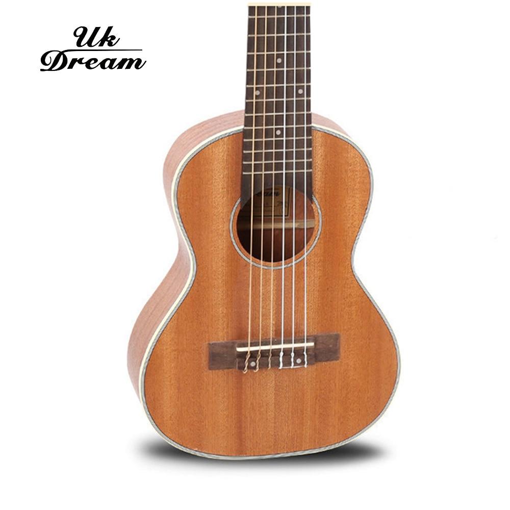 28 palců Mini akustická kytara 6 strun 18 Frets Klasický knoflík Ukulele Full Sapele Dřevěné kytarové kytary china guitalele