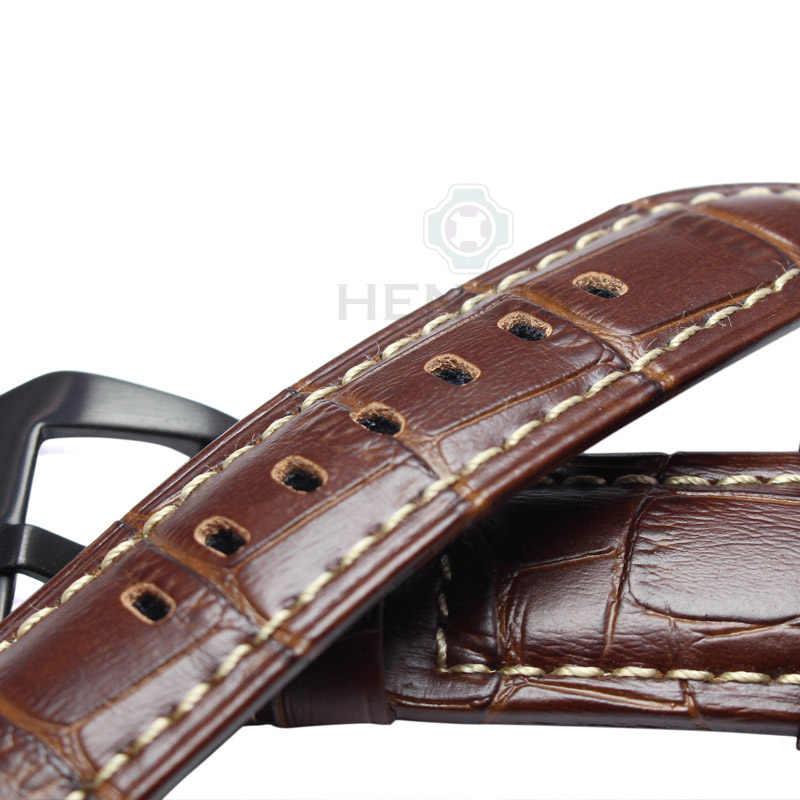 Bracelets de montre en cuir véritable hommes bracelet de montre épais de haute qualité bracelet 22mm 24mm marron noir montres boucle de ceinture pour Panerai