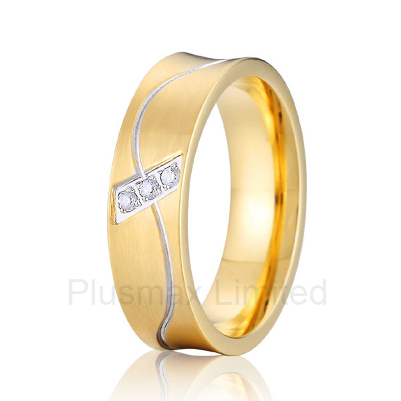 China factory unique styles prong settings cubic zirconia gold color cheap pure titanium fashion jewelry rings for wedding anel feminino cheap pure titanium jewelry wholesale a lot of new design cheap pure titanium wedding band rings