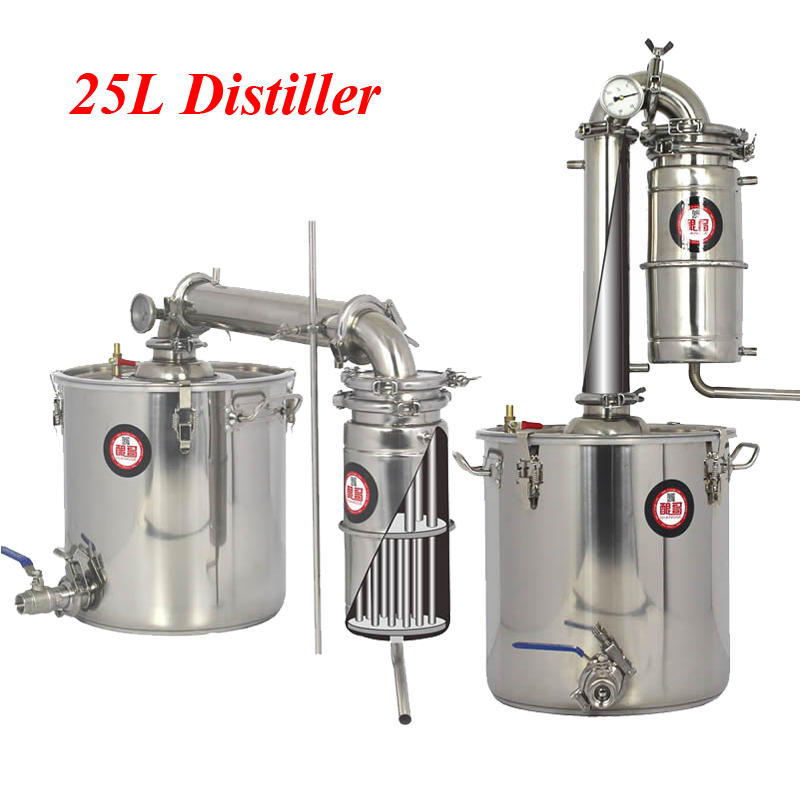 Household 25L Stainless Steel Wine Brewing Machine Alcohol Vodka Liquor Distiller Pot/ Boilers Equipment stainless steel circular liquor flask keychain 1 0 oz