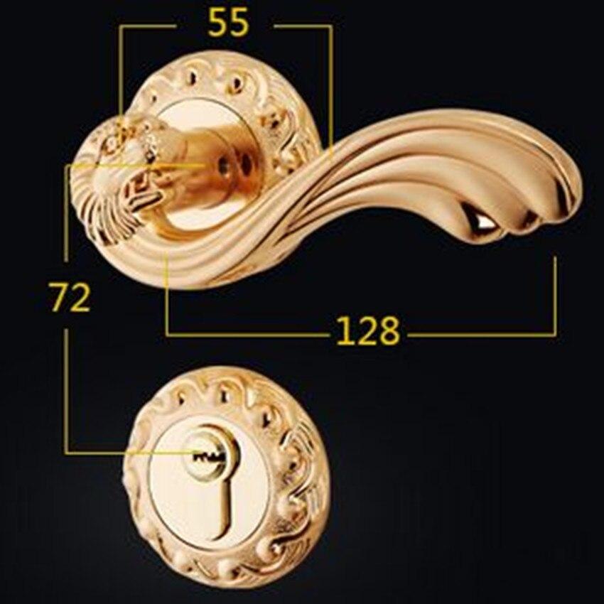 European - style split lock handle locks fashion deluxe gold bedroon door handles antique brass kitchen bathroom door lock retro