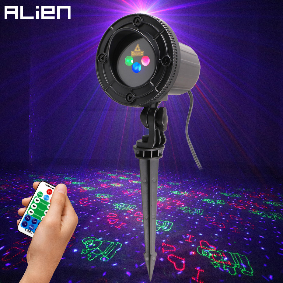 цены на ALIEN RGB Waterproof Outdoor Garden Christmas Laser Projector Holiday Party Tree Xmas Decor Effect Lighting Shower With Remote в интернет-магазинах