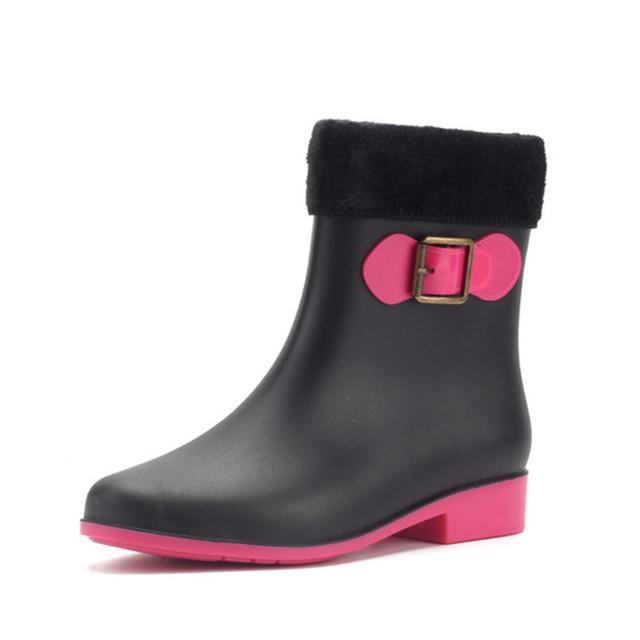 Warm PVC Bowknot Flat Heel Waterproof Ladies Autumn Rain Winter Booties