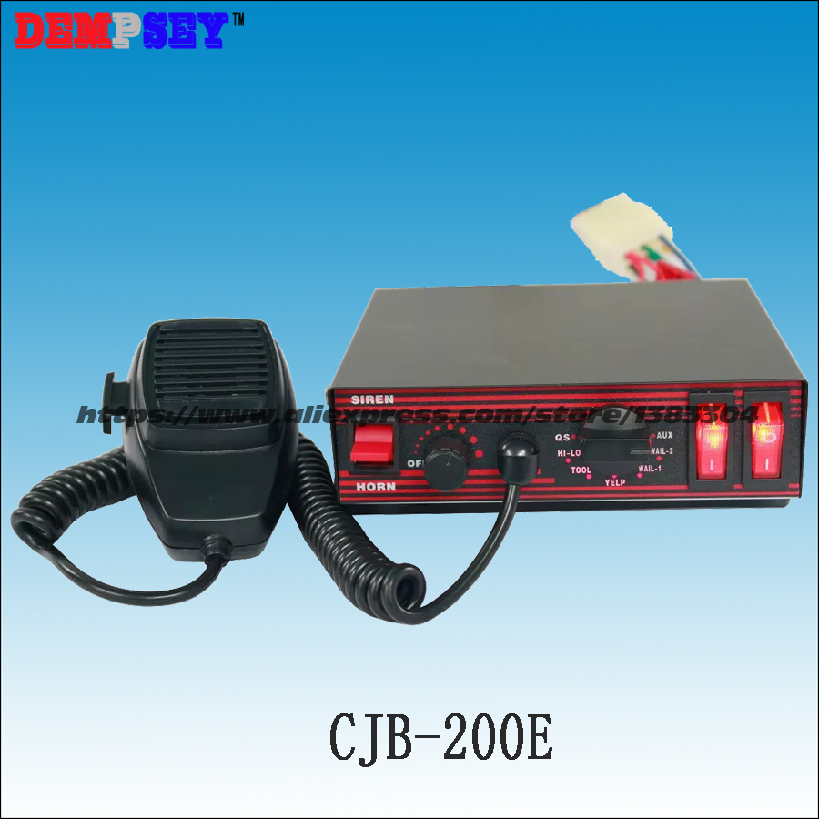 Free Shipping! CJB-200E 200W Power Police Car Siren, DC12V Emergency Vehicles, With Microphone/2 Light Switches ,without Speaker