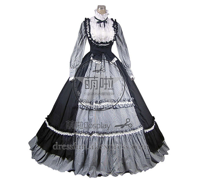 4a12243cf2f Victorian Gothic Lolita Steampunk Dress Ball Gown Cosplay Costume Surface  And White Lace Classical Dress Fashion For Party