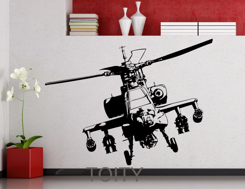 Apache Helicopter Wall Sticker US Army Vinyl Decal Office Home Living Room Interior Decoration Fashion Art Mural