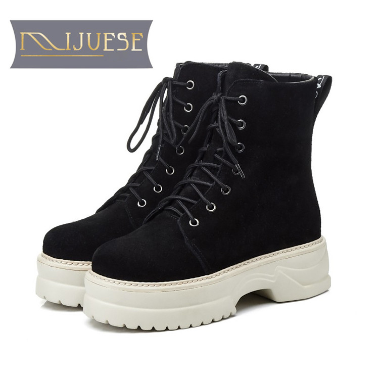 MLJUESE 2018 women ankle boots Cow Suede zippers Rome style strange heel winter short plush platform boots women  bootsMLJUESE 2018 women ankle boots Cow Suede zippers Rome style strange heel winter short plush platform boots women  boots