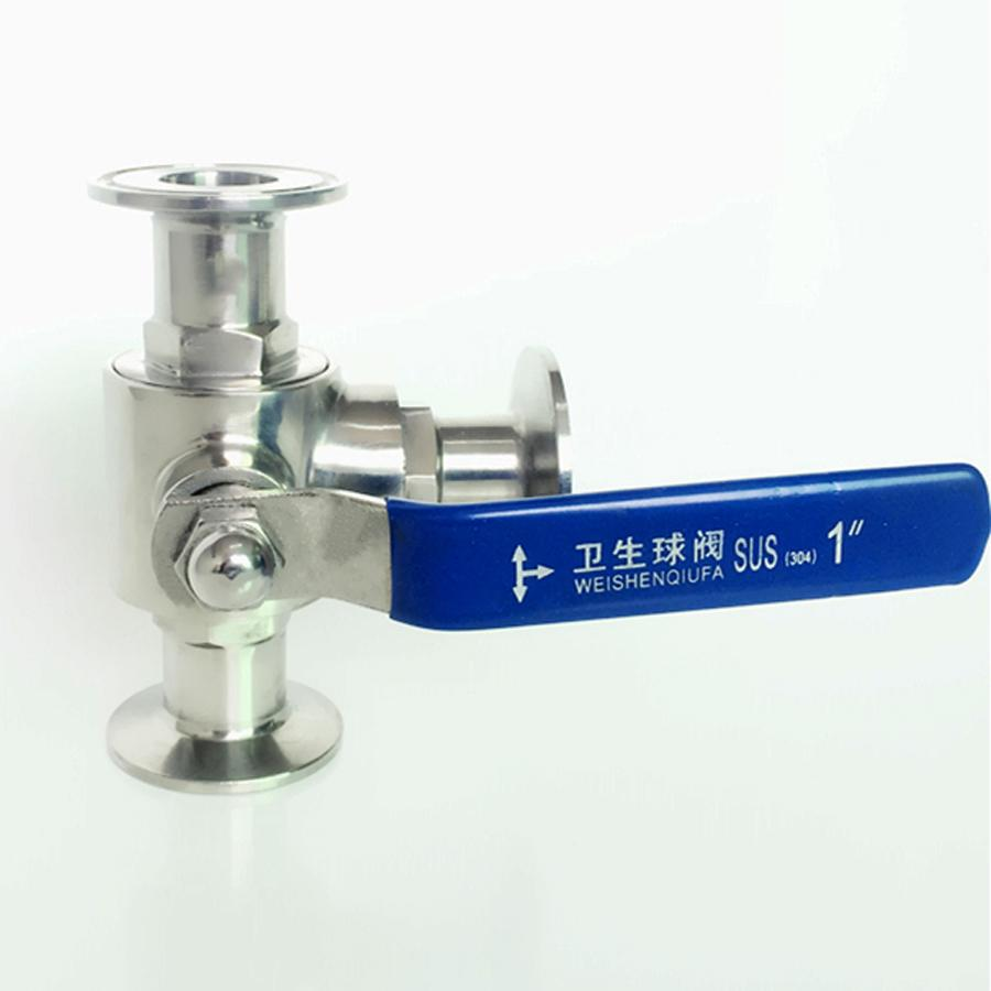 Fit 25mm 1 Pipe OD x 1.5 Tri Clamp Sanitary T-Port Ball Valve SUS 304 Stainless Beer Brewing Home Factory fit 25mm 1 pipe od 1 5 tri clamp ss304 stainless steel 3 piece ball valve