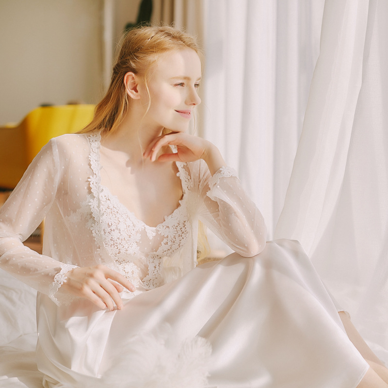 Lisacmvpnel BRIDE Sexy Lace 1 Pcs Women Robe Long Sleeve Female Night Sleepwear