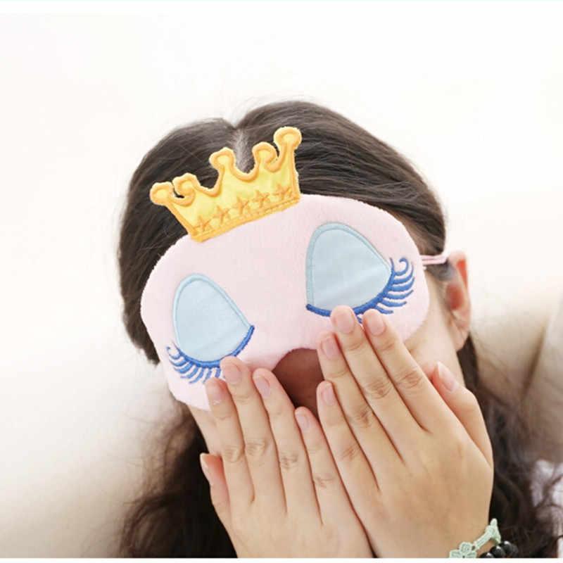 สีชมพูมงกุฎ Eye COVER ท่องเที่ยว Sleeping Mask น่ารัก Eyeshade การ์ตูนขนตายาว Blindfold ของขวัญผู้หญิงผู้หญิงผ้าฝ้ายผสม