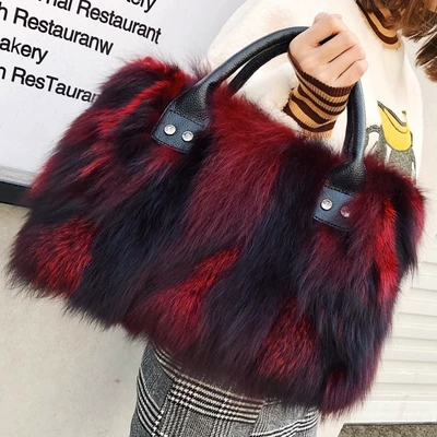 Real fox fur Women Handbags Luxuy Handle Totes Bag genuine leather Designer Clutch Purse Ladies Leather