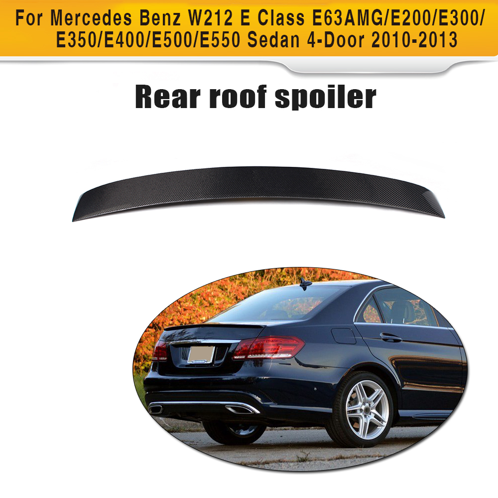 E Class Carbon Fiber Rear Roof Spoiler Wing for Mercedes Benz W212 Sedan 4 Door 2010-2013 E63 AMG E200 E300 E350 E400 E500 E550 dxz 2pcs car led door logo projector ghost shadow light for mercedes benz w212 w166 w176 e200 e300 e260 e class amg