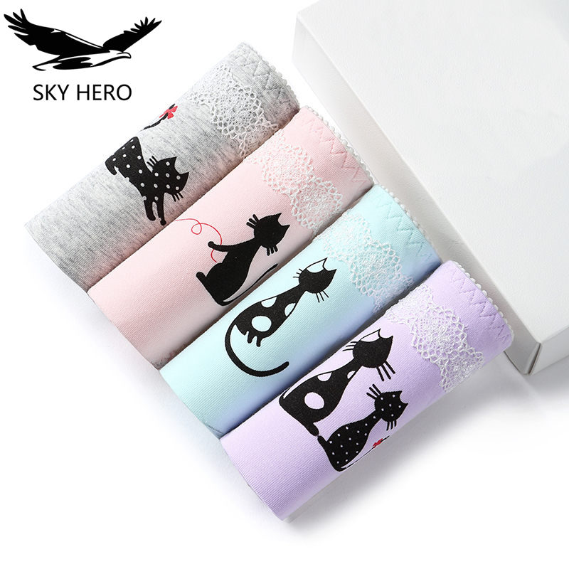 4pcs/lot M L XL Sexy Ladies Cotton Briefs Women's   Panties   Underwear Cartoon Cat Female Ropa Interior Femenina Srj Soft Brief