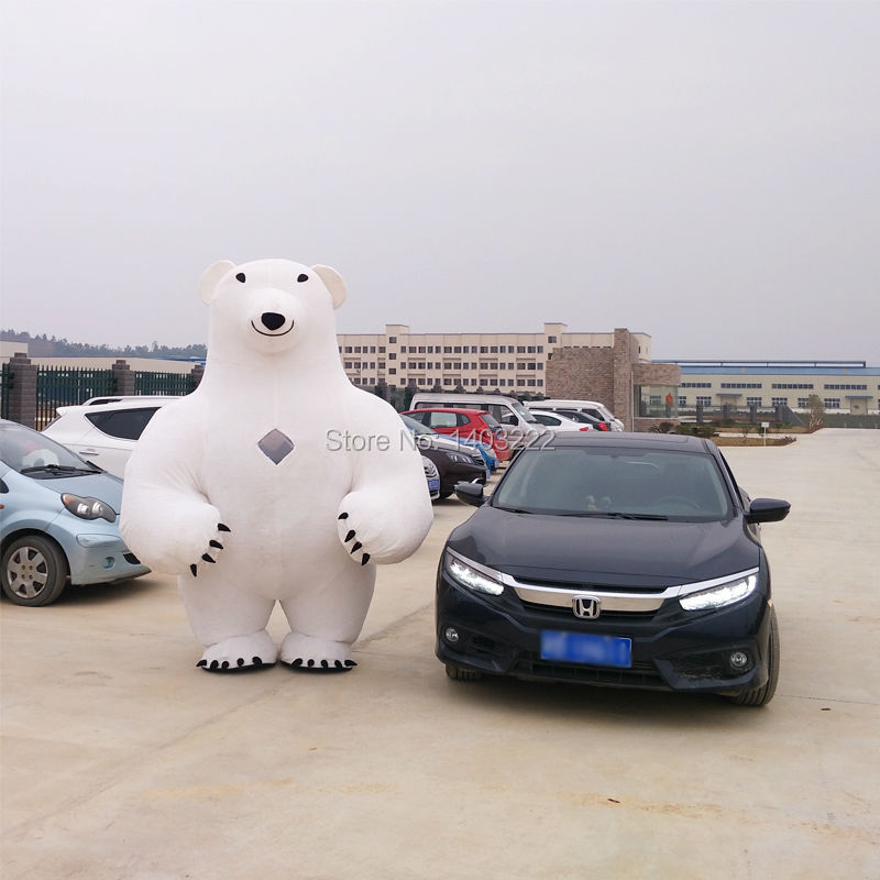 New Style Inflatable Mascot Costume Inflatable Polar Bear For Advertising 2 8M Tall Customize For Adult