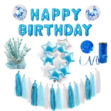 FENGRISE Blue Party Decoration Baby Shower Boy Supplies Kids Favors Birthday 1st Balloons Banner