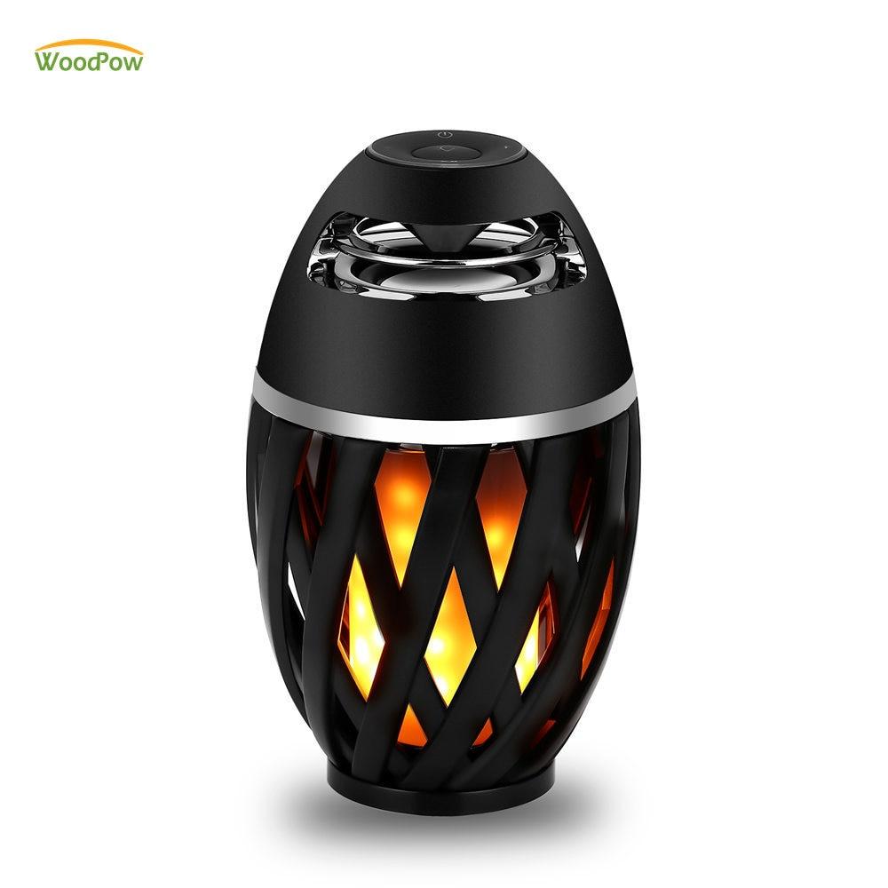 Mutig Woodpow Led Flamme Flackert Licht Tisch Lampe Blu 4,2 Drahtlose Lampen Tws Stereo Lautsprecher Musik Player Beleuchtung Für Camping Party Fein Verarbeitet Schreibtischlampen