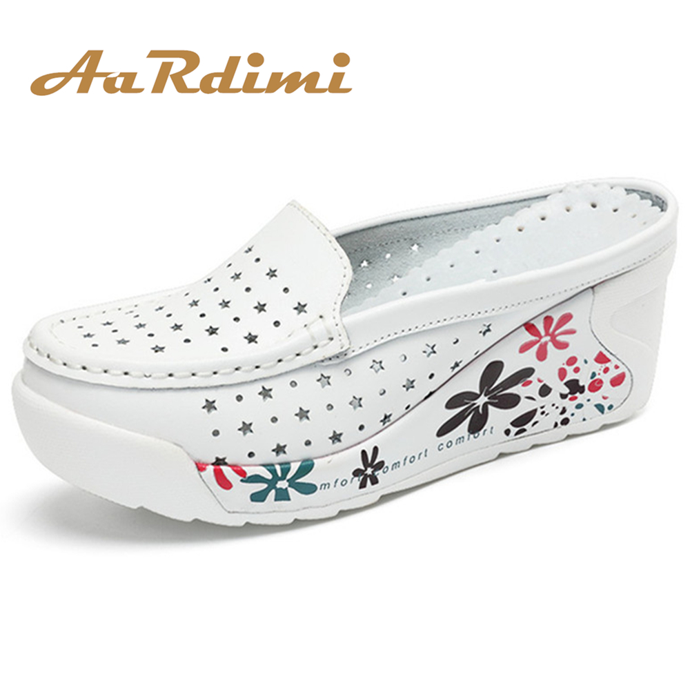 AARDIMI Genuine Leather Summer Shoes Women Creepers Casual Breathable Flat Platform Shoes Woman Summer Casual Nurse shoes