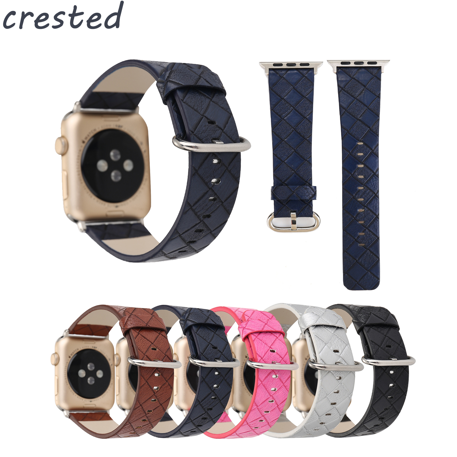 купить CRESTED genuine leather strap for apple watch band 42mm/38 Grid pattern leather bracelet band for iwatch 1/2/3 replacement strap по цене 728.45 рублей