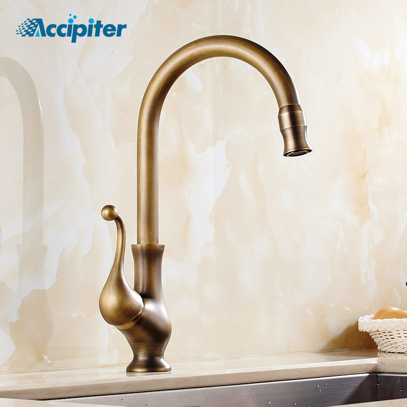 New 360 Degree Rotating Arrival Antique Brass Kitchen Faucet Kitchen Faucet Single Handle Hot and Cold
