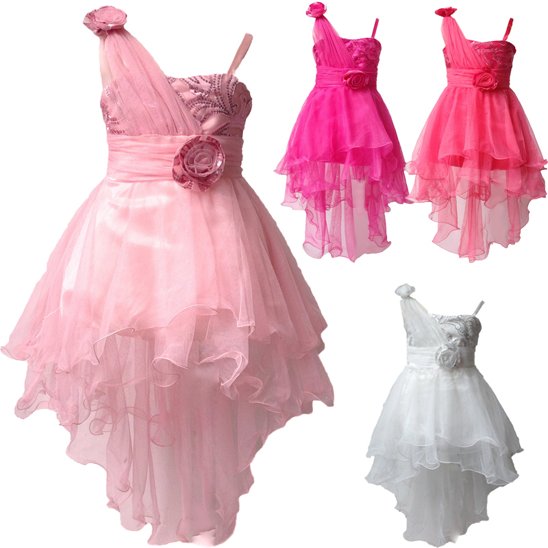 Fahion Girls' Wedding Party Bridesmaid Dresses for 2-8Y Flower Dress Tulle Lace Communion Children's Fantasy