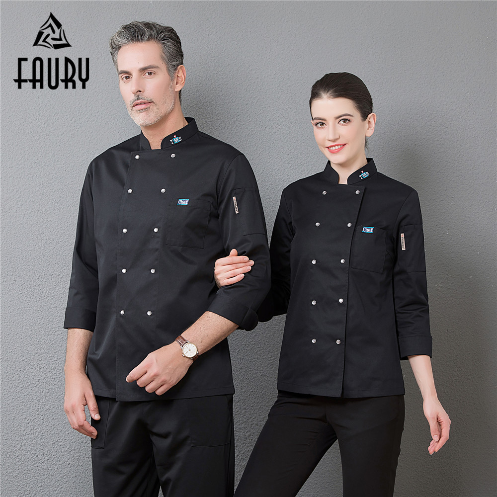 Wholesale 2018 New Chef Cooking Jacket High Quality Restaurant Kitchen Uniforms Catering Hotel Waiter Bakery Cuisine Work Suit