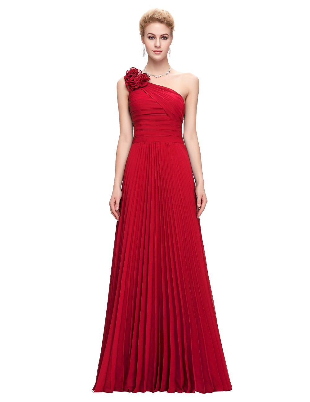 Grace Karin Chiffon Long Evening Dress One Shoulder Pleated Red Green Purple Royal Blue Formal Evening Dress Party Gowns 2018 10