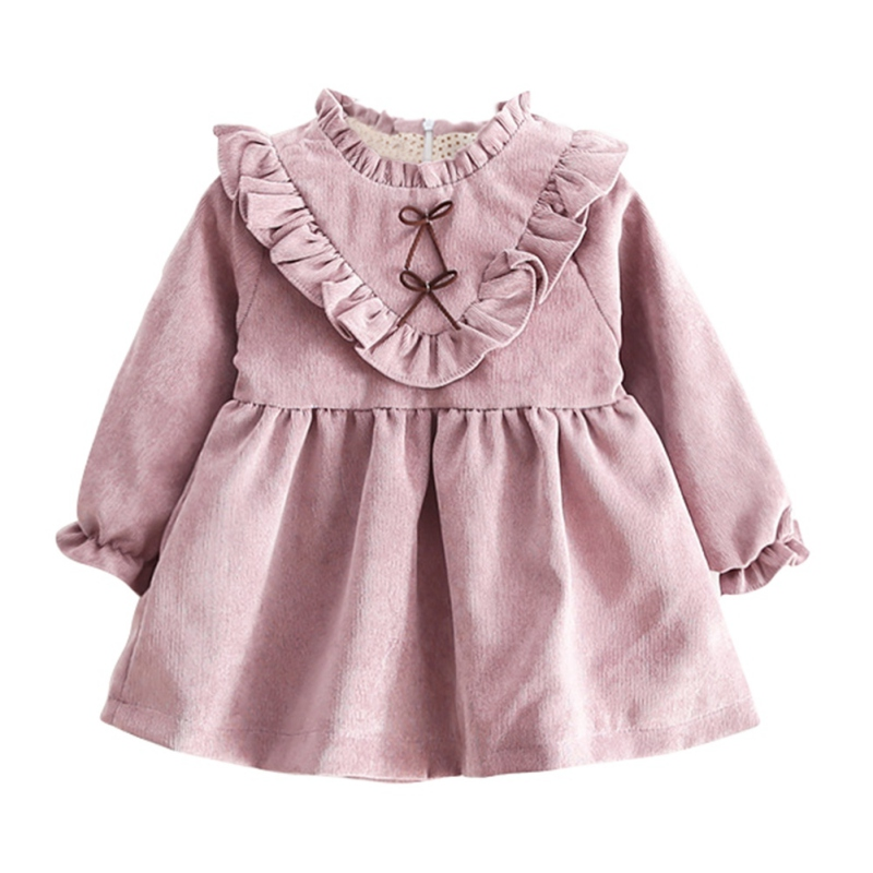 Autumn Baby Girls Velvet Dress Fashion Long Sleeves Ruffles Bow Lace Dresses Toddler Girl Clothing Vestidos