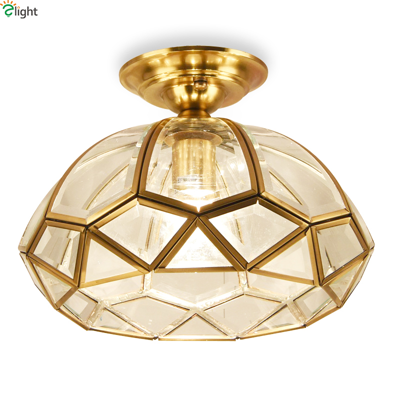 Europe Retro Lustre Copper Led Ceiling Lights Fixtures Simple Glass Corridor Led Ceiling Light Luminarias Ceiling Lamp Lamparas american retro iron e27 led ceiling lights lustre glass bedroom led ceiling lamp balcony led ceiling lighting light fixtures