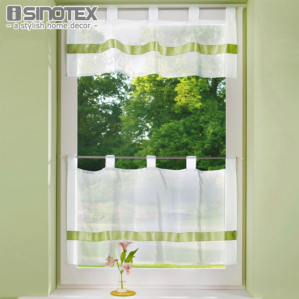 Solid Window Valance Half-curtain Embroidery Customize Coffee Roman Tulle Curtain Panel Drape Tab Tape for the Kitchen Cabinet