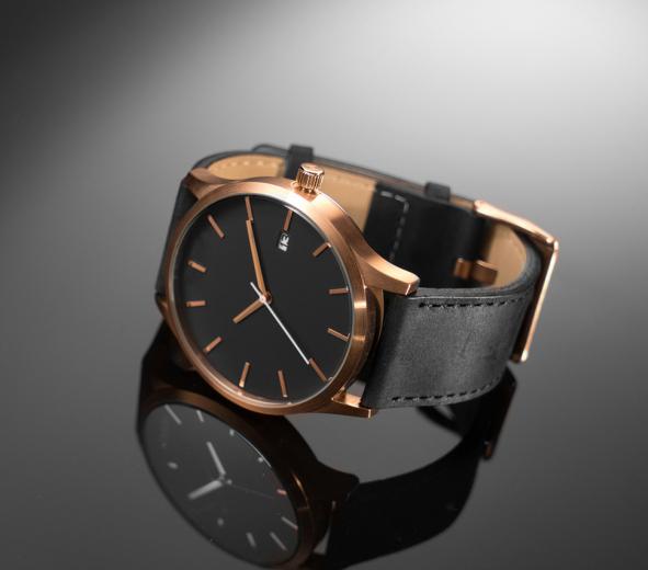 Marca de relojes 44 MM Caso 100% Pulseira De Couro Genuíno Movimento De Quartzo com Data Relógios Homens nuevos relojes