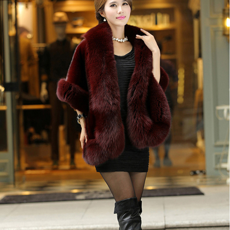 Luxury Elegant Winter Warm Fur Coat Shawl Cape Womens Faux Mink Cashmere  Fashion Solid Ladies Faux Fur Pashmina Poncho
