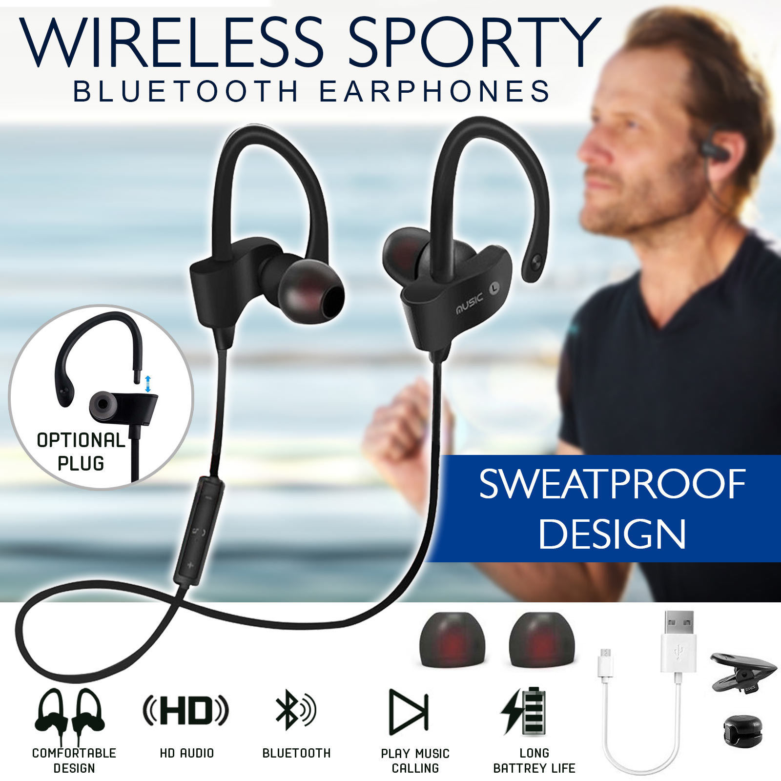 Bluetooth 4.1 Wireless Headphones Ear Hook Fashion Sport Earphones Hifi Stereo Mp3 Music Player Earbuds Headset with Microphone earphones and headphones bluetooth wireless sport handsfree with microphone fm radio mp3 player tf card wired stereo headset