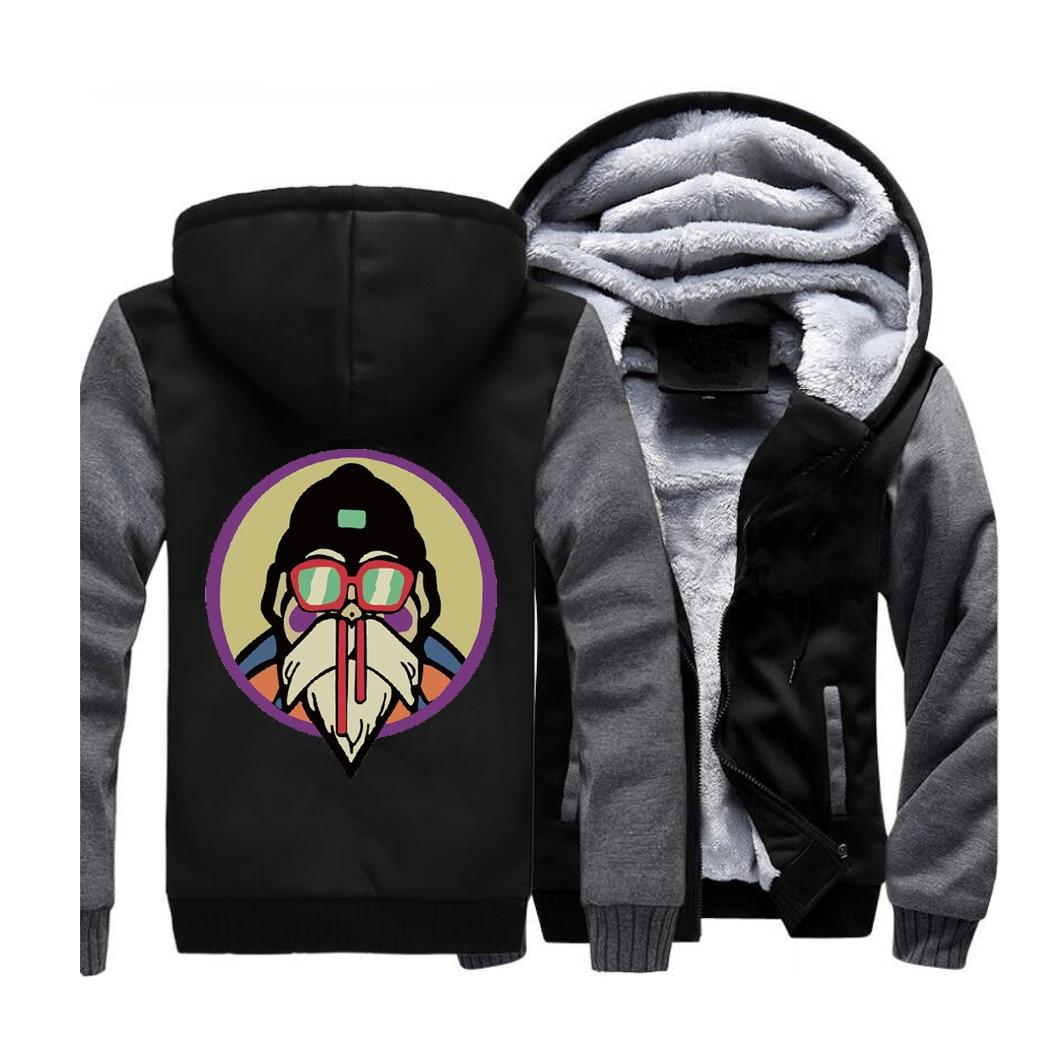 Japan Anime Dragon Ball Streetwear Hoodies Master Roshi Cartoon Sweatshirt Men Winter Fleece Thick Jacket Sportswear Coat Hoodie