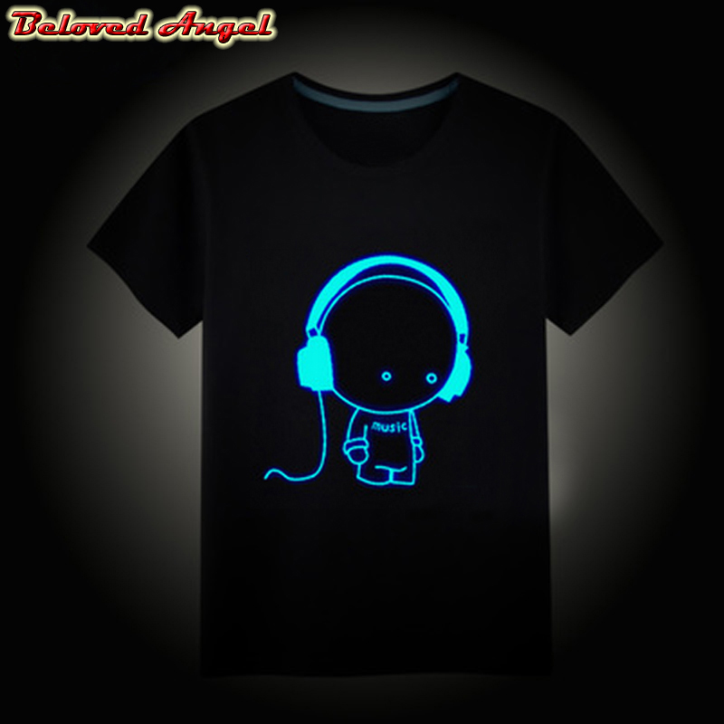Boys T-Shirts Night-Light Children Tops Punk Teenager Neon-Print Girls Kids Summer New