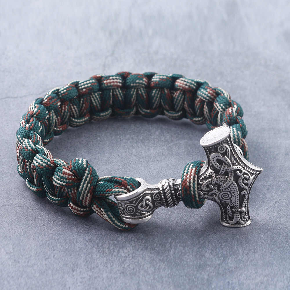 Rongji jewely moda viking machado wrap pulseiras amuleto thor 2 métodos de uso cosplay jóias