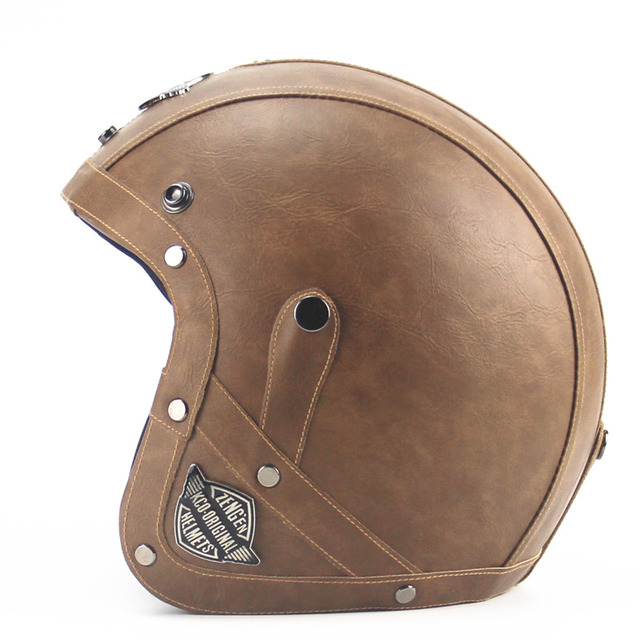 Adult Open Face Half Leather Helmet Harley Moto Motorcycle Helmet vintage  Motorbike Vespa motocross capacete Chopper Bike Black