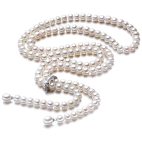 High Quality 2017 100 Natural Freshwater Pearl Long Necklace 8 9 Mm Real Pearl 925 Sterling