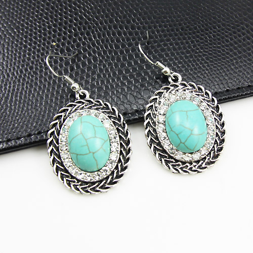 New 2017 Fashion Vintage The Green Stone Earrings Cute Stud Circle Costume Jewelry Jewellery Top Size Ersg41 In From