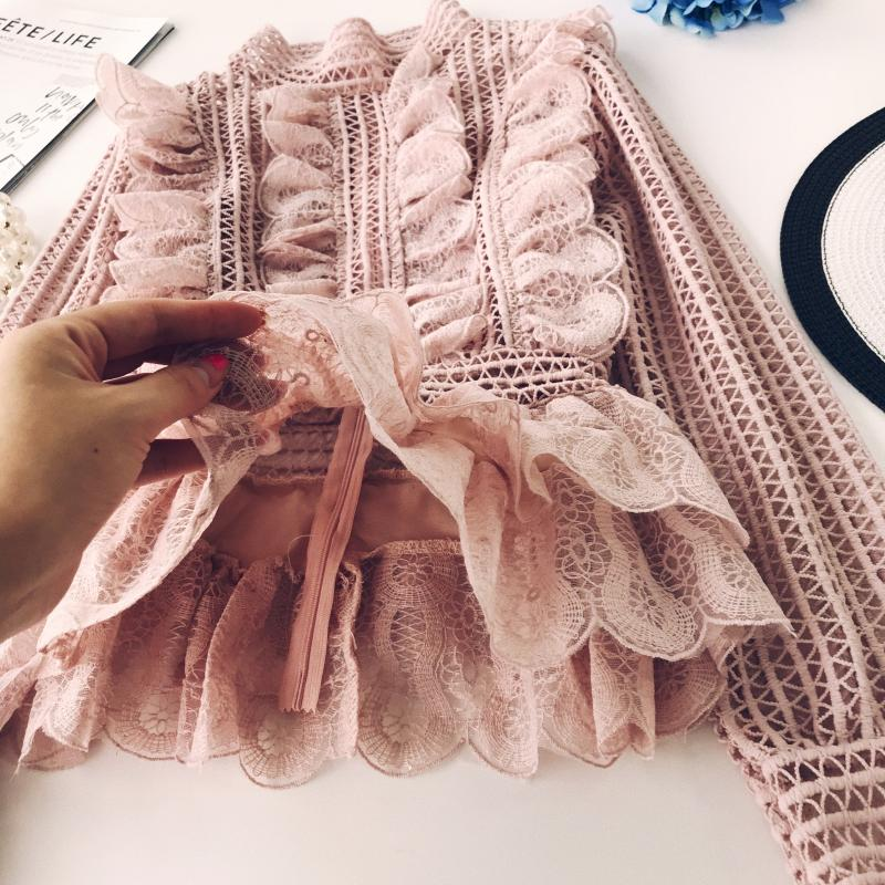 MUMUZI Elegant lace hollow out peplum blouse shirt women Ruffles long sleeve white blouse female Autumn winter tops office lady 4