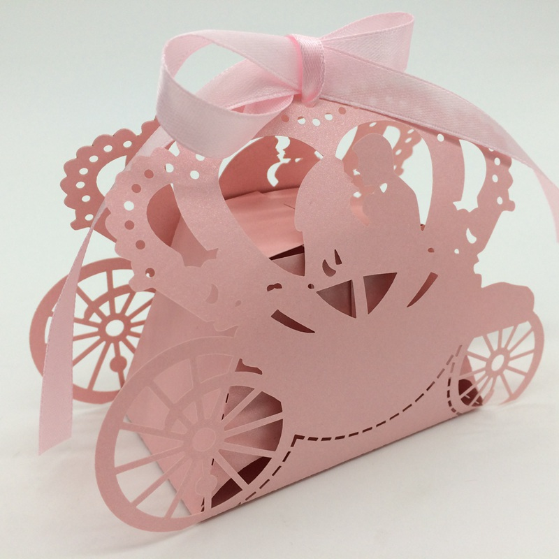 Laser Cut Pumpkin Car Wedding Show Candy Box for Guests Party and Wedding Favors Gift Bo ...